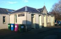 The Old Station Tearoom at Aberlour in February 2017. Once the main station entrance from Victoria Terrace. The station closed to passengers in October 1965. [See image 39095] <br><br>[Andy Furnevel 01/02/2017]