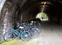 Transport interchanges are nothing new, you know. A selection of bicycles sheltering from the elements below the platforms [see image 43555]. View looks South, towards the River Avon.<br><br>[Ken Strachan 08/11/2015]