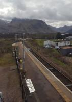 A view from the signalling centre east over Banavie station towards Ben Nevis and Fort William.<br><br>[John Yellowlees 02/04/2017]