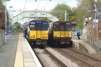 314s call at Bishopton on 27 April 2017. On the left is 314209 in ScotRail blue heading to Wemyss Bay and on the right 314206 in Strathclyde livery heading to Glasgow Central.<br><br>[John McIntyre 27/04/2017]