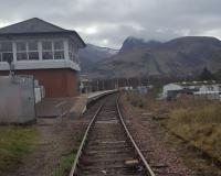 Heritage Railway Association visit to Banavie: view towards Fort William and Ben Nevis with the signalling centre to the left and swing bridge behind the camera.<br><br>[John Yellowlees 02/04/2017]