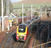 A Northbound WCML Voyager passing the sidings and loops at Abington on a bright and sunny Christmas Eve 2005. [See image 6252]<br><br>[John Furnevel 24/12/2005]