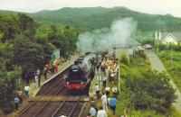 Black 5,44767, with crowd of admirers waits to pass up train at Arisaig.<br><br>[John Robin //]