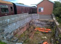 The former, and hopefully future, site of Blaenavon High Level signal box. Notice the slots to allow the rodding to pass through the brick lower wall.<br><br>[Ken Strachan 19/08/2017]