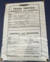 Timetables seen at Chathill. Yes today!<br><br> Showing times for Alnmouth, Alnwick, Chathill and Seahouses.<br><br>[John Yellowlees 22/06/2017]
