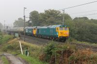 <I>The 50s are 50!</I>. To celebrate <I>The Caledonian</I> ran from Euston to Glasgow and return with D407 (50007) <I>Hercules</I> and 50049 <I>Defiance</I> taking over from an electric loco at Crewe - just like the good old days. For the first time in many years Class 50s double head a passenger train through Bay Horse - 7th October 2017.<br><br>[Mark Bartlett 07/10/2017]