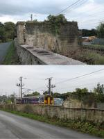 For many years the gents urinal that used to stand on the Up Platform at Bay Horse has been a curious survivor. The station closed in 1960 and was demolished prior to electrification but this remnant remained. However, in September 2017 it developed a serious crack in the wall forming the boundary as seen in the upper image. This was reported to Network Rail who quickly made that wall safe, as the lower image shows, but the rest of the structure stubbornly clings to life alongside the busy WCML.<br><br>[Mark Bartlett 30/09/2017]