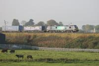 Running a few minutes ahead of schedule, 88002 <I>Prometheus</I> rolls the northbound <I>Tesco</I> onto the embankment at Bay Horse on 26th September 2017 but is ignored by the locals. <br><br>[Mark Bartlett 26/09/2017]
