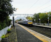 A Class 320 from Dalmuir makes its first stop at Clydebank on the morning of Saturday 14th October 2017. Engineering works mean that it will be terminating at Kirkwood instead of Whifflet.<br> <br> <br><br>[David Panton 14/10/2017]
