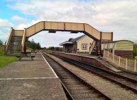 Looking northwards at Blaenavon it is hard to believe that this location was once just sidings for a coal mine. The footbridge is a recent arrival from Hinckley in the English Midlands. 19th August 2017<br><br>[Ken Strachan 19/08/2017]