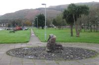 This footpath, running south west alongside the shore at Campbeltown, follows the line of the old light railway. At the sixth lamp post the path swings west and follows the course of the old railway into the little glen where it climbs steeply away from sea level. 22nd October 2017. <br><br>[Mark Bartlett 22/10/2017]