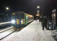 You shouldn't believe everything you read. The train is the 17.59 to Nuneaton, not Coventry; and although the 'London Midland City' lettering has been peeled off the sides of the carriage, it's a West Midlands service. Snow makes a welcome change in Nuneaton.<br><br>[Ken Strachan 11/12/2017]