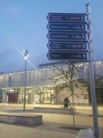 Walking and cycling route signs outside the new Cambridge North station. 7th December 2017.<br> <br><br>[John Yellowlees 07/12/2017]