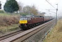 After many years of open storage with West Coast Railways [See image 33916] 47772 has joined the main line fleet and been named <I>Carnforth TMD</I>. It is seen at Barton & Broughton, on the rear of <I>The Pennine Limited</I>, supporting 45699 <I>Galatea</I> on a Carnforth to Sheffield tour on 3rd March 2018. <br><br>[Mark Bartlett 03/03/2018]