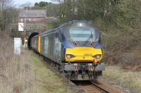 68018 <I>Vigilant</I> brings up the rear of a Barrow to Carlisle passenger service as it pulls away from Corkickle and enters the single bore Whitehaven Tunnel on 13th March 2018, the second day of Class 68 operation on some of these trains. <br><br>[Mark Bartlett 13/03/2018]