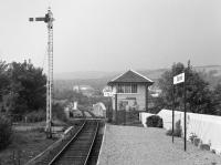 Looking west along the platform at Banavie to the signal box and swing bridge. By this date the West Highland Extension style station building was gone.<br><br>[Bill Roberton //1985]