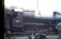 Great Western 2-6-0 No. 5322 in steam at Caerphilly in March 1973 (yes, it<br> was snowing!). Built c1916 this locomotive saw service in France in World<br> War I and is now preserved at Didcot.<br> <br> <br><br>[John Thorn /03/1973]