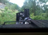 Looking southwards over the engine from the caboose on the Brecon Mountain Railway in 2014.<br><br>[Ken Strachan 24/08/2014]