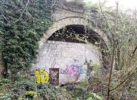 This tunnel entrance is adjacent to the Monmouth Troy station site, which is on the outskirts of the town, easily accessed from Troy Gardens. The tunnel is used by a rifle club; despite the door visible in this view, they obtain access at the other end. 21st April 2019.<br>See <a target=query href=/queries/closed.html>query 2086</a><br><br>[Ken Strachan 21/04/2019]