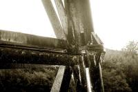 Detail of pipe bridge across the Leven for dyeworks.<br><br>[Ewan Crawford //]