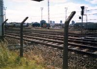 An 08 shunts the Cowlairs Carriage sidings. CGU and Sighthill Branch in foreground.<br><br>[Ewan Crawford //1987]