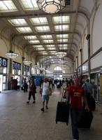 The main entrance hall at Cardiff, looking very smart; and somewhat reminiscent of Leeds station IIRC. Unfortunately the bus station, which was very sensibly located to the left of this view, has been relocated elsewhere.<br><br>[Ken Strachan 27/08/2019]
