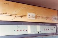 Bowling panel. The swingbridge route (the Lanarkshire and Dumbartonshire Railway) has been painted out. Interior of Bowling signalbox. Access by kind permission of British Rail.<br><br>[Ewan Crawford //1990]