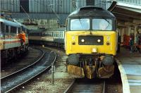 Arrival from the north at Carlisle. Brought by 47 as the WCML was closed.<br><br>[Ewan Crawford 26/11/1988]
